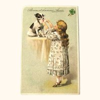 Girl with Dog Postcard / Happy New Year / Vintage Ephemera
