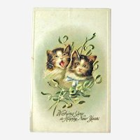 Happy New Year Postcard / Two Cats / Vintage Ephemera