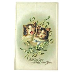 Happy New Year Postcard / Two Cats / Vintage Ephemera
