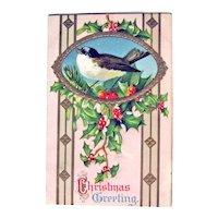 Postcard Bird in Frame / Christmas Greeting / Vintage Ephemera
