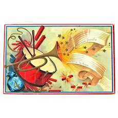 Fourth of July Postcard / Patriotic Card / Vintage Ephemera