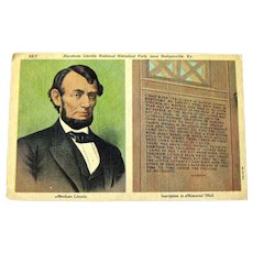 Abraham Lincoln Postcard / Lincoln National Historical Park / Vintage Ephemera