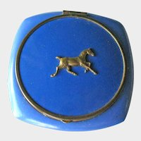 Small Blue Enamel Compact / Horse Design / Rouge and Powder / Vintage Vanity