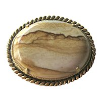 Exceptional Picture Agate Pin / Vintage Jewelry / Collectible Jewellery