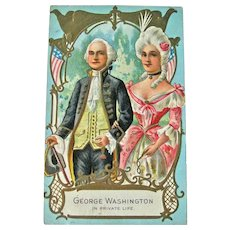 George and Martha Washington Postcard / Private Life / Vintage Ephemera