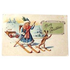 Christmas Postcard / Skiing Girl / Skiing Rabbit / Lady Santa