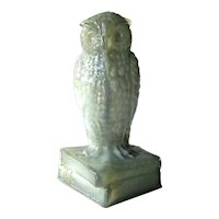 Degenhart Gray Green Slag Glass Owl / Figurine on Books Signed / Collectible Glass