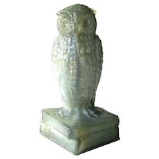 Degenhart Gray Green Slag Glass Owl / Figurine on Books Signed / Collectible Glass