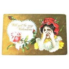 Unused Valentine Postcard / Bashful Girl / Vintage Ephemera