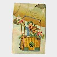 New Year Postcard / Children in Basket / Hot Air Balloon / Vintage Ephemera
