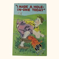 Humorous Golf Postcard / Hole in One / Funny Card
