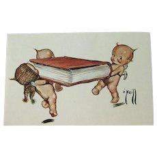 Rose O'Neill Kewpie Postcard /  Kewpies with Book / Artist Drawing