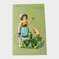 Tuck St Patricks Day Postcard / Girl and Pig / Four Leaf Clover / Vintage Ephemera
