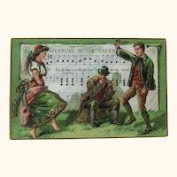 St Patrick's Day Postcard / Wearing of the Green / Irish Dancing Couple