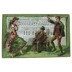 St Patrick's Day Postcard / Wearing of the Green / Irish Dancing Couple
