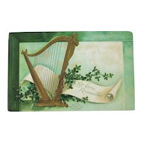 Clapsaddle St. Patricks Day Postcard / Erin Go Bragh / Golden Harp