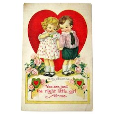 Boy Girl Valentine Postcard / Girl for Me / Big Heart / Vintage Ephemera