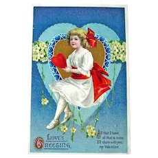 Clapsaddle Signed Valentine Postcard / Hearts and Flowers / Love's Greeting