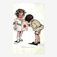 Katharine Gassaway Valentine Postcard / Signed Card / Vintage Ephemera