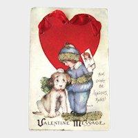 Valentine's Day Postcard Girl and Dog / Coralene Beads / Vintage Ephemera