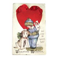 Valentine's Day Postcard Girl and Dog / Coralene Beads / Vintage Ephemera