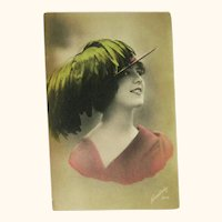 Real Photo Postcard / Beautiful Lady / Feather Hat/ Hand Tinted Card