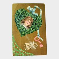 Unique Valentine's Day Postcard / Four Leaf Clover / Flower Key / Vintage Ephemera