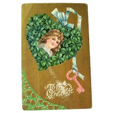Unique Valentine's Day Postcard / Four Leaf Clover / Flower Key / Vintage Ephemera