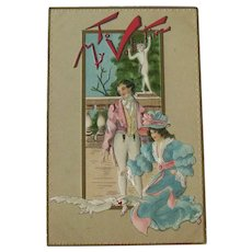 Valentine's Day Postcard / Victorian Scene / White Dove / French Influence