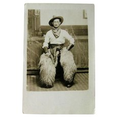 Real Photo Postcard Cowboy / Cowboy with Woolly Chaps / Vintage Ephemera