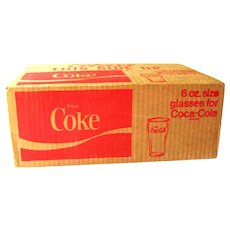 Unopened Case of Coca Cola Glasses / Six Ounce Coke Glasses / Coke Glasses 1970s