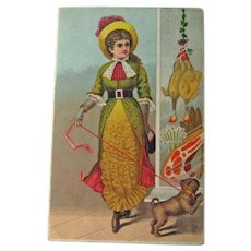 Peerless Coffee Advertising Trade Card/ Butcher Shop / Victorian Lady / Dog on Leash