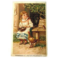 Druggist Victorian Advertising Trade Card / Girl with Chicken