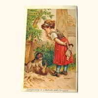 Druggist Victorian Advertising Trade Card / Girl with Doll / Girl with Dogs