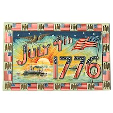 July 4th 1776 Postcard / American Flags / Vintage Ships