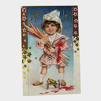 Postcard Forth of July / Child with Firecrackers / Toy Cannon / Paper Hat