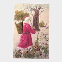 Santa Postcard /  Coralene Beads / Winter Scene