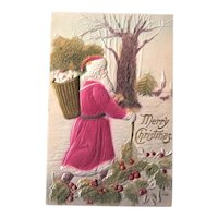 Santa Postcard /  Coralene Beads / Winter Scene