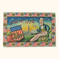 Uncle Sam Fourth of July Postcard /Statue of Liberty / American Flags / Patriotic Postcard