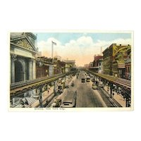 Postcard of The Bowery New York City / Broadway of East Side
