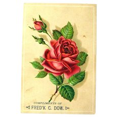 Victorian Trade Card / Vintage Card with Rose / Ephemera