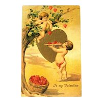 Valentine's Day Postcard / Cherubs and Hearts / Valentine Greeting