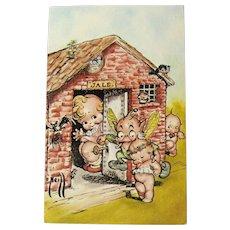 Kewpieville Postcard / Rose O'Neill Kewpies / Kewpie in Jail / Vintage Kewpie Postcard