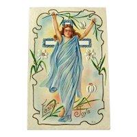 Easter Joy Postcard / Angel Postcard / Cross Postcard / Vintage Postcard