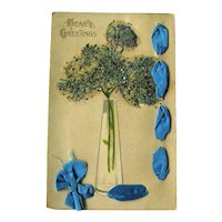 Vase of Flowers Postcard / Hearty Greetings / Coralene Beads
