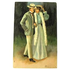 Romantic Postcard / Victorian Couple Courting / Couple Strolling