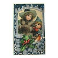 Unused Happy Christmas Postcard / Vintage Embossed Card / Sweet Little Girlsl / Bird and Holly