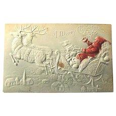 Heavily Embossed Santa in Sleigh Postcard / Reindeer and Sleight Christmas Postcard