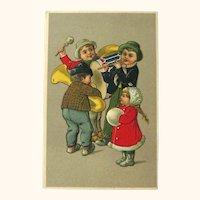Children Playing Musical Instruments Postcard / Vintage Postcard  Children / Collectible Card