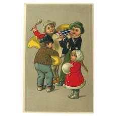 Children Playing Musical Instruments Postcard / Vintage Postcard  Children / Collectible Card